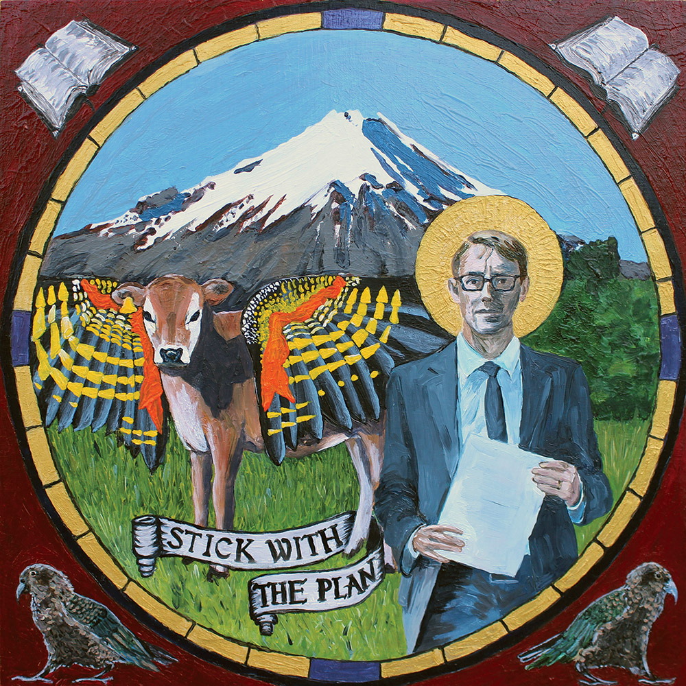 Oil painting Ashley Bloomfield as St Luke the Evangelist with winged calf, kea, Mt Taranaki and banner, 'Stick with the plan'