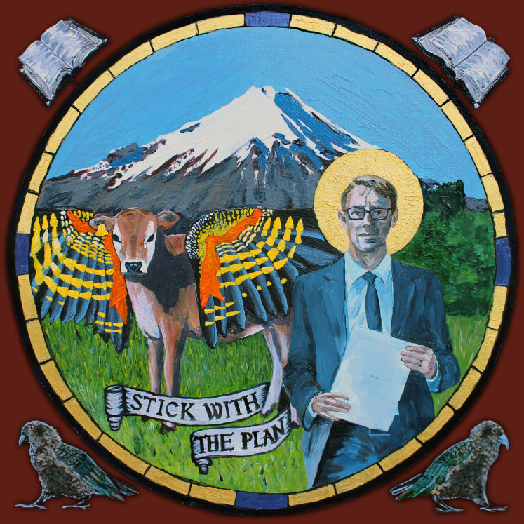 Oil painting of Ashley Bloomfield with Mt. Taranaki, a calf with kea wings and a banner reading 'stick with the plan'