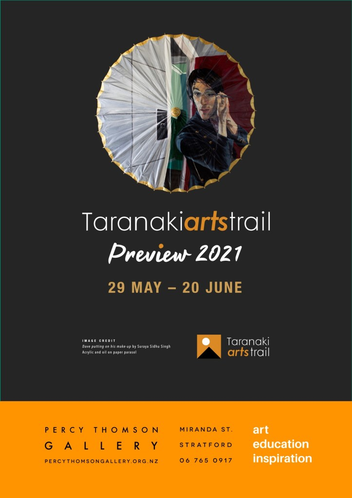 Poster advertising Taranaki Arts Trail Preview 2021 at Percy Thomson Art Gallery, Stratford
