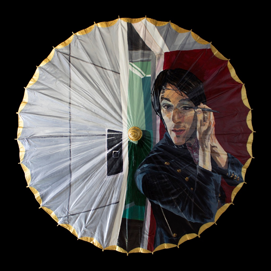 Oil painting on a paper parasol of a man putting on make-up